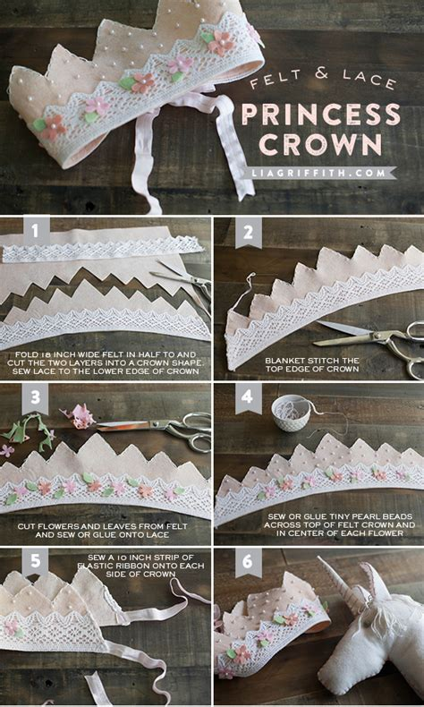 How To Make A Paper Princess Crown - diy felt and lace princess crown