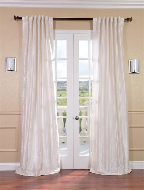 White Silk Curtains White Vintage Textured Faux Dupioni Silk Curtains Drapes