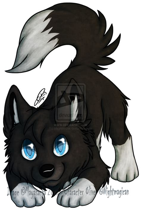 cute chibi wolf with wings
