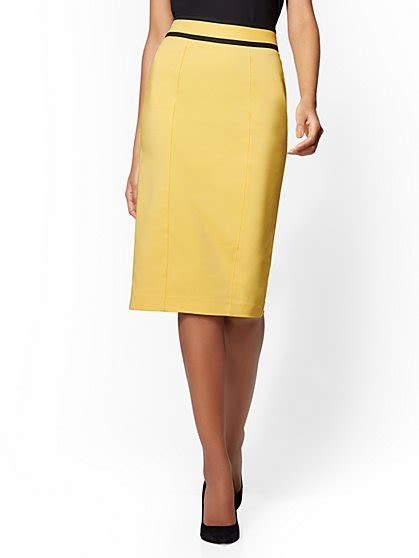 yellow pattern pencil skirt women s business apparel suit for work ny c