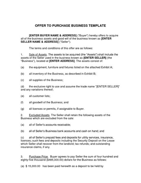 sle business purchase agreement offer to purchase agreement template 28 images offer