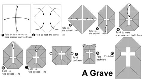 How To Make A Paper Cross - origami grave easy for
