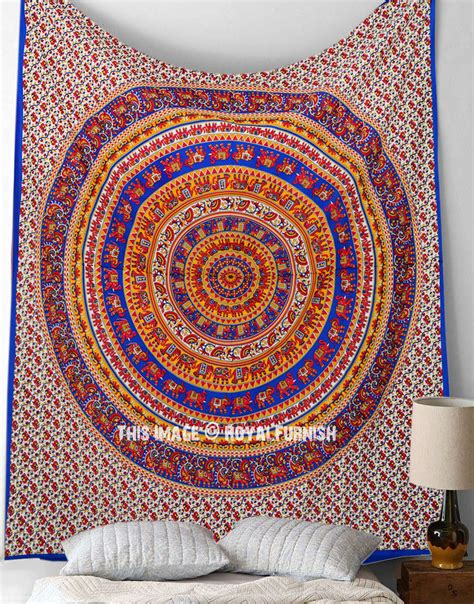 bed tapestry blue multicolor elephant mandala tapestry hippie tapestry