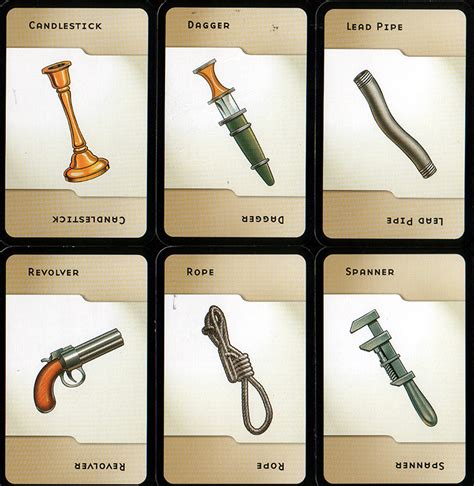 clue cards weapon template cluedo room cards