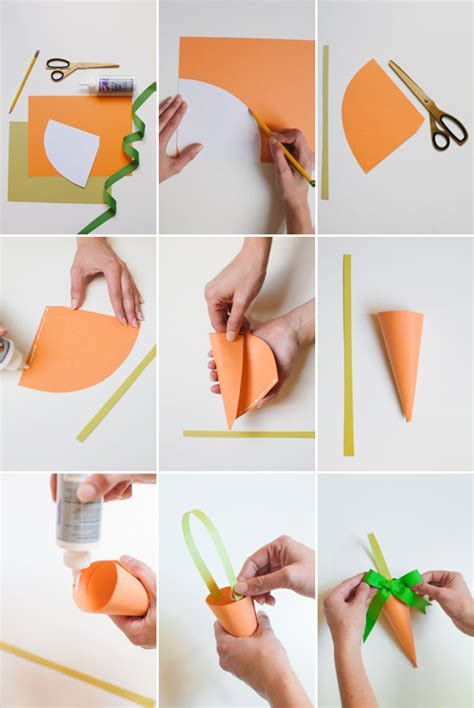 How To Make A Nose Out Of Paper - paper carrot treat bags diy