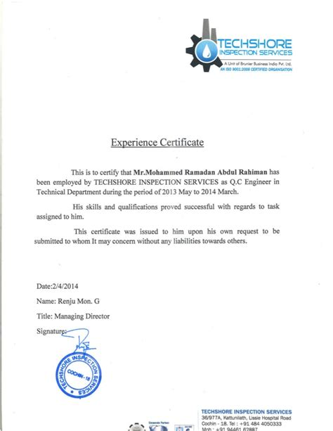 Work Experience Letter For Electrical Supervisor q c engineer experience certificate from techshore