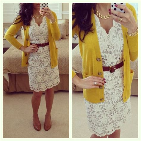 white lace dress brown belt mustard cardigan my style
