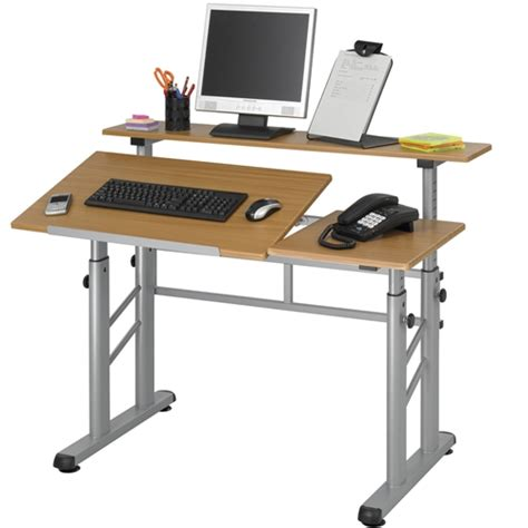 Drafting Computer Desk Adjustable Split Level Drafting Table W Wood Top Safco