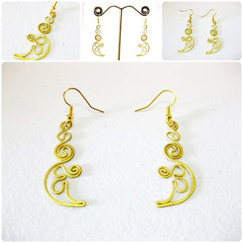 Handmade Jewelry Thailand - brass dangle earrings crescent fashion designs handmade
