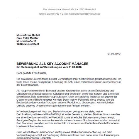 Bewerbung als Key Account Manager / Key Account Managerin