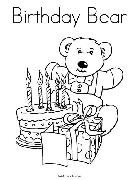birthday bear coloring page twisty noodle