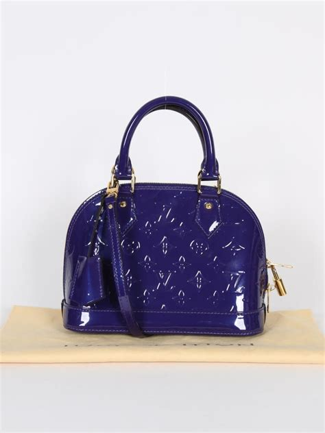 Louis Vuitton Alma Vernis Collection by Louis Vuitton Alma Bb Vernis Leather Blueberry Luxury Bags