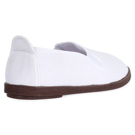 new womens white plain canvas flat slip on