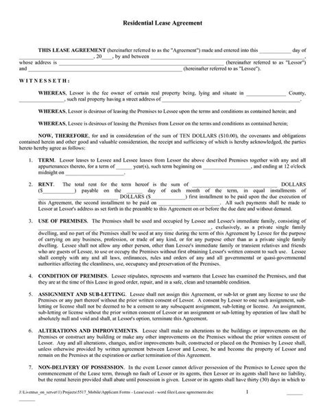 12 month lease agreement template 12 month tenancy agreement template free