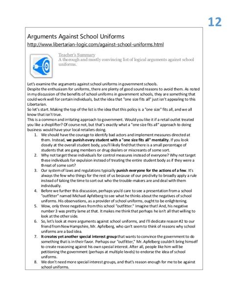 School Uniforms Argument Essay by Argumentative Essays On School Uniforms