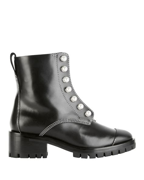 Dw Df1414 O Silver White Leather Black hayett pearl stud combat boots