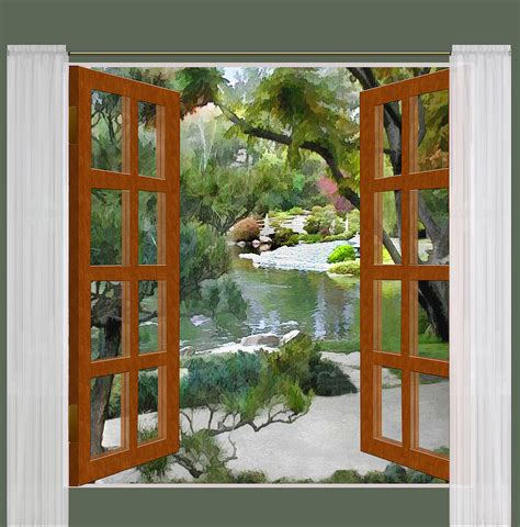 Window View Glimpse Of Tranquility Japanese Garden Painting by Elaine Plesser