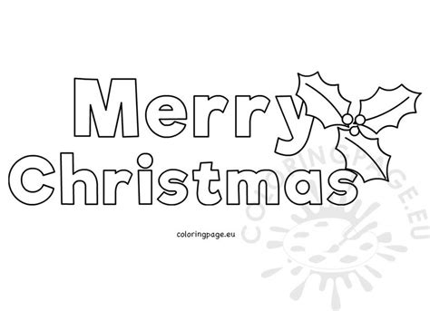 merry christmas letters  holly template coloring page
