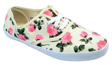 womens ivory pink floral print canvas lace up sneakers