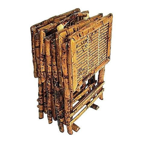 stand l set rattan bamboo tv tray w stand set of 4