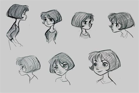 drawing of bob hair penny from bolt young preteen girl short hair bob cut crop