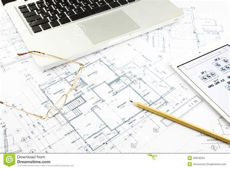 the notebook house floor plan house blueprints and floor plan with notebook stock photo