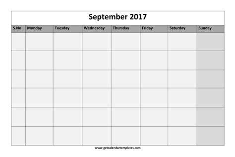 Calendar September 2017 Blank 2017 Blank Calendar Printable Templates Get Calendar
