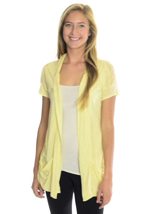 short sleeve drape front cardigan s free people yellow slub knit open front short sleeve
