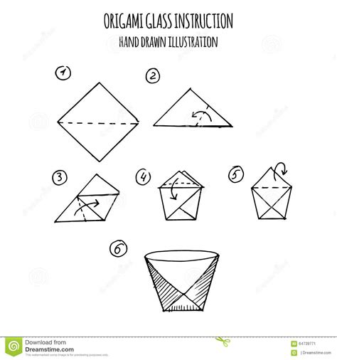 3d Origami Step By Step Illustrations - illustration step by step of glass origami