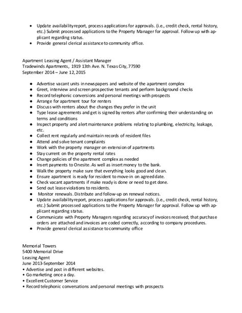 Sle Resume For Apartment Manager by Sle Resume Property Manager Assistant 28 Images Sle Resume Objective For Business Analyst 28
