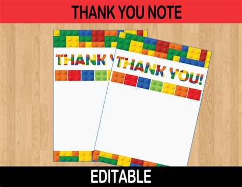 printable lego birthday thank you cards building blocks editable thank you cards instant