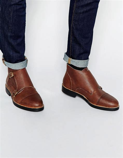 monk boots asos asos monk boots in brown leather at asos