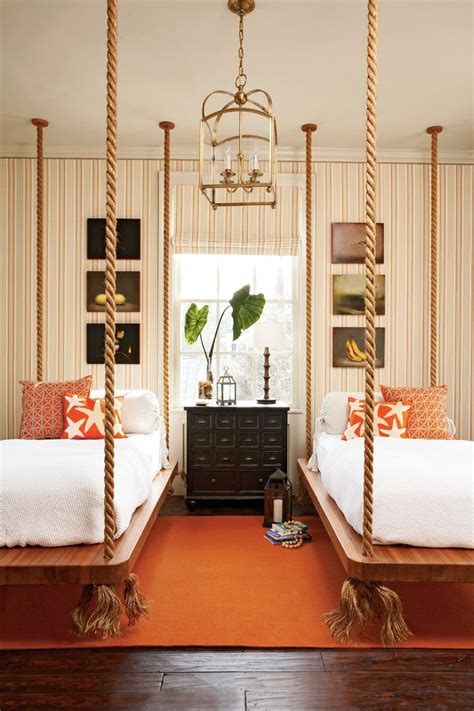 nice Wall Art Decor Ideas #4: atlanta-hanging-bed-designs-with-traditional-artificial-flowers-bedroom-beach-style-and-orange-pillows-wall-art.jpg