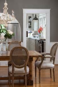 this deep gray dining room blends country and traditional