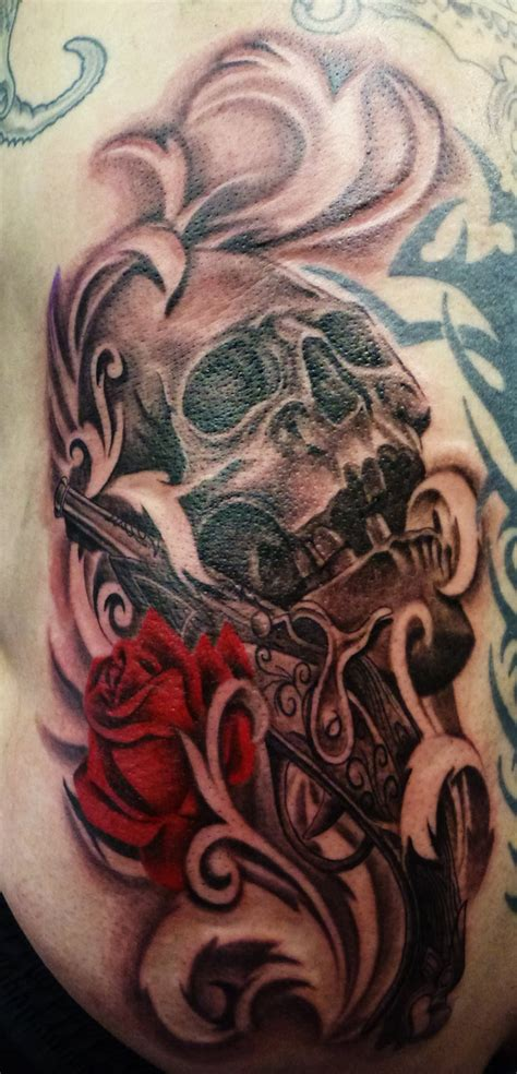 skull rose and gun tattoos skull gun and by onksy on deviantart