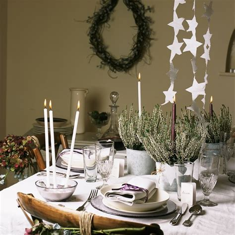white themed christmas table traditional christmas