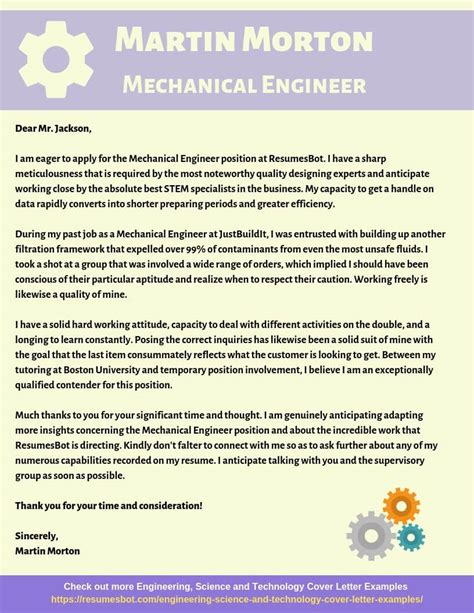 mechanical engineer cover letter samples templates