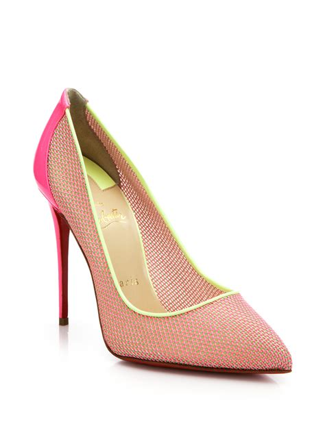 christian louboutin woven color blocked pumps in pink lyst