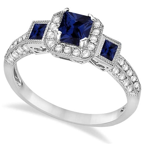 blue sapphire engagement ring 14k white gold 1 35ct