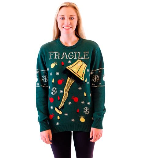 ugly christmas sweater with lights women s a christmas story fragile leg l light up led