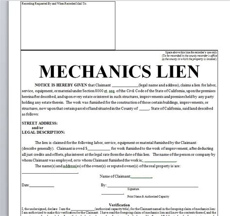 lien agreement template mechanics lien printable contract in doc word sle