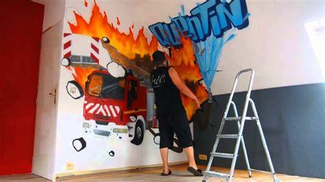 d馗oration chambre graff deco chambre garcon pompier