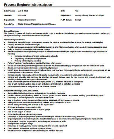 process engineer description chemical engineer description sle 9 exles in