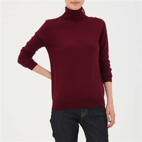 Plain Turtle Neck Sweater less itchiness washable plain turtle neck sweater muji