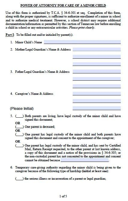 Free Parental Guardianship For Minor Child Power Of Attorney Tennessee Pdf Power Of Attorney For Child Template