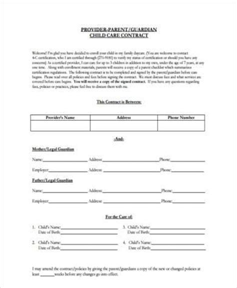 Sle Daycare Contract Forms 9 Free Documents In Word Pdf Daycare Contract Template