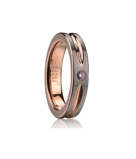 purple cz inlay and groove center tungsten carbide wedding
