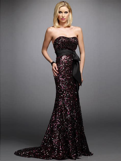 Sequin Sash Tie Dress by Luxury Strapless Sheath Style Sequined Black Sash And Bow