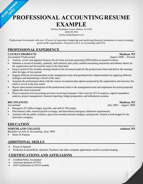 accountant resume templates professional accounting resume resume sles across all