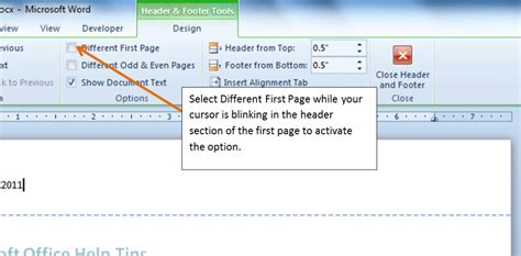 creating header and footer in pages inserting a different header on the first page of a word